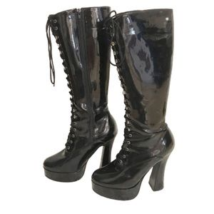Pleaser sexy patent leather lace up black boot 6.5